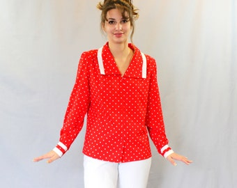 Red polka dot top. 70s shirt. Vintage red white blouse. Mad Men Fashion. Size Large. Office blouse. Secretary blouse. Christmas outfit