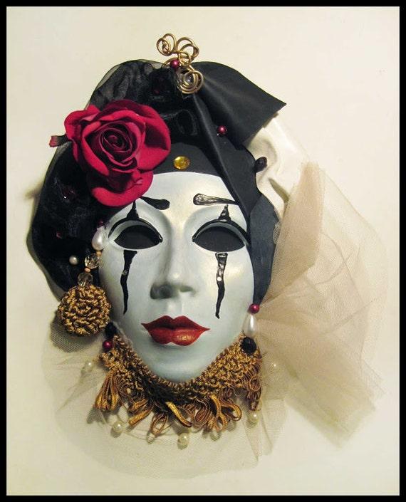 Leather Venetian Mask Ceramic Wall Art Mask Baroque