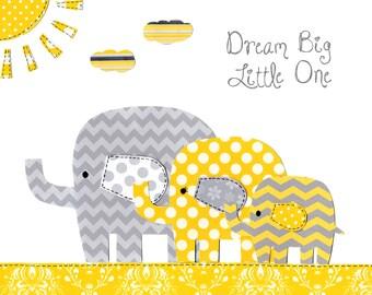 Yellow and Gray Elephant Family Nursery Art - Baby Nursery Decor - Dream Big Little One - Elephant Nursery Pictures - PRINT