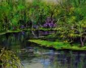 "Fine Art print of my original oil painting.  Landscape Painting, Spring Painting,  River Painting, 6 X 6 ""Spring River"""