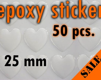 50pcs. 25mm Heart Epoxy Sticker