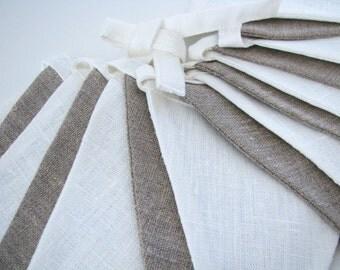 Bunting / Fabric Flag Banner / Pennant Nursery / Porch / Patio Decor / Photo Prop / Ecru / Ivory