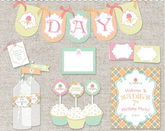 Ice Cream DIY Printable Party PDF files : just print , cut , and decorate
