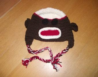 Crochet sock monkey hat, adult size with earflaps