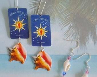 Key west  conch republic  conch shell earrings