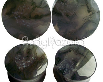 Green Moss Agate Stone Plugs for Stretched Ears Piercings Handmade in UK
