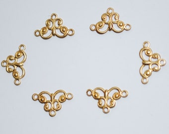Small Brass Scroll Connectors (6pc)