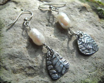 Fine Silver Fern Earrings Pearl Earrings Freshwater Pearl Fine Silver PMC Dangle Earrings