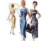 1950s Wiggle Dress Pattern, McCall's 3498, Sexy Plunging V-Back, Large Bustline Bow & Band, 1955 Vintage Sewing Pattern, Bust 30, Uncut