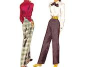 1940s Ladies' Pants Pattern, McCall 6794, High Waist Slacks, Side Zipper & 1 Pocket, Dart Fitted, 1947 Vintage Sewing Pattern, Waist 24