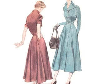 1940s Dress Pattern Simplicity Designer's 8147, Tailored, Flared Godet Skirt, Double Lapel, 1949 Vintage Sewing Pattern Bust 32 Uncut