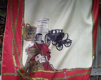 Stunning Vintage French Chic  Shabby Silk Scarf-featuring Paris Post & Vintage Transport Messaging Delivery Services