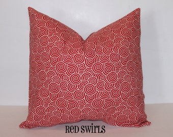 CLEARANCE - 16 x 16 Red Swirls Pillow Cover - Premier Prints
