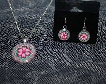 Pink Flower Necklace and Earring Set