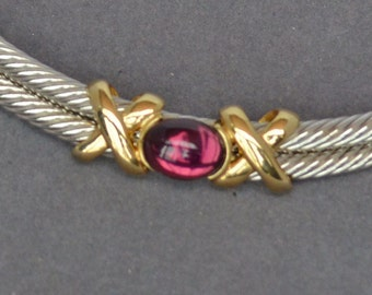 """Couture Designer Silver Gold Tone Necklace Choker Cable Amethyst Vintage """"X"""" design"""