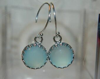 Blue Stone Earrings, Chalcedony Earrings, Sterling Silver Bezel Earrings