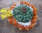 Orange and Green Brooch,  Ruched Flower, Sewers Accessory