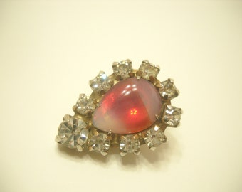 Gold Tone, Clear Rhinestones, & Irridescent Pink Glass Teardrop Tie Tac (1943)