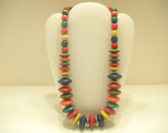 Graduating Wooden Bead Necklace (4845) Bright & Summery