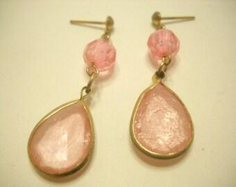 Vintage Pink Crystal Dangle Pierced Earrings (5482)