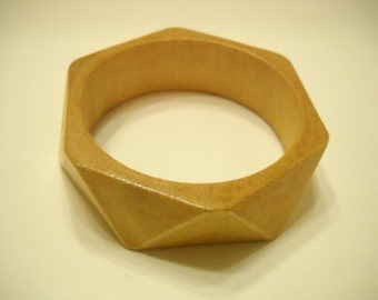 Vintage Wooden Faceted Bangle Bracelet (1977)