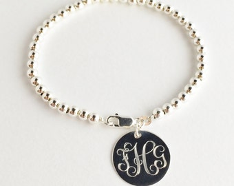 Sterling Silver Bead Monogram Bracelet - 4mm Silver Beads with Personalized Charm