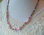 Pink and Brown Necklace, Pink and White Paper Bead, Womens Jewelry, Rolled Paper Bead Jewelry, Paper Bead Necklace, Paper Bead Jewelry