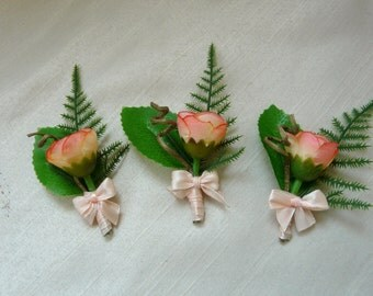 Peach Rose Boutonniere, Groom and Groomsmen Boutonniere, Rustic Lapel Pin, Burlap Wedding Pin, Peach Lapel Pin