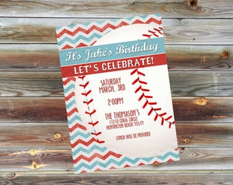 Custom Vintage Baseball Birthday Party Invitation