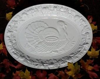 Magnificent Majolica Turkey Platter, Made in Portugal, White Majolica Platter