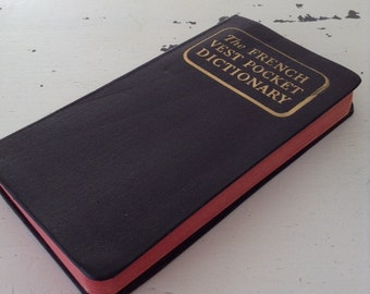 vintage. DICTIONARY. pocket. FRENCH. english. SMALL. 1954.
