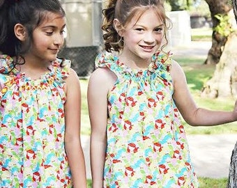 Flutter-By Top & Dress Pattern PDF Sewing Pattern for Girls.  Sizes 1 -8 included