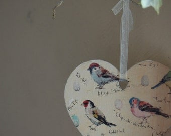 Decoupage Bird Heart