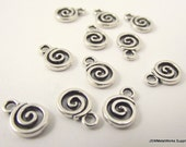 20 Pewter Swirl Charms, Small Swirl Pendants, 11 x 8 mm
