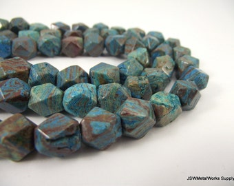Blue Sky Jasper Beads, Faceted Rectangle Beads, 10 x 8 mm, 16 Inch Strand, Whole Strand