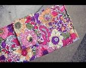 SALE - vegan handmade wallet flowers red pink yellow green purple
