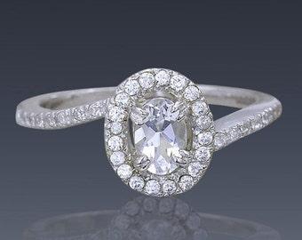 Zircon Ring engagement ring Silver 14K 18K white yellow Gold,Swarovski Crystal, Gift idea SKU 1911