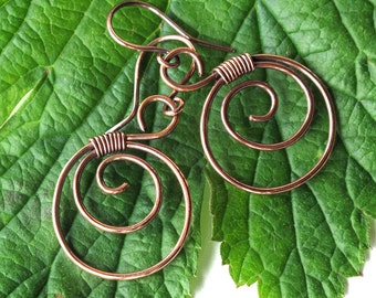 Copper spiral earrings - copper wire wrapped hoops