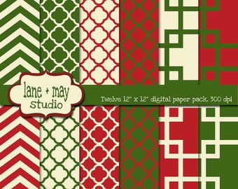 digital papers - red, green and cream geometric christmas patterns - INSTANT DOWNLOAD