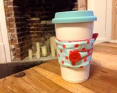 Reversible Red & Teal Polka Dot Coffee Cozy