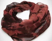 Silk Scarf Shibori Rose, Wine, Brown Extra Long Hand Dyed Scarf