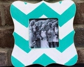 Chevron Picture Frame in Ocean Breeze - Distressed Wooden Frame - Baby - Wedding - Bridesmaid Gift - Shabby Chic Frame Copy