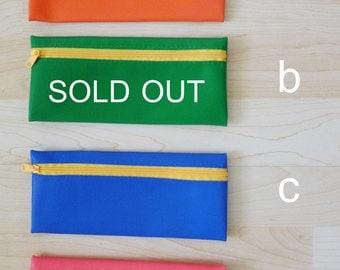 NEON PVC zipper pencil case, pencil pouch, pencil bag, glasses case, wallet, rectangle shaped, waterproof -  NEON