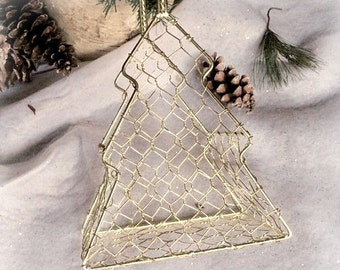 Vintage Christmas Tree Basket Gold Wire Holiday Card Holder, Decoration