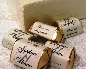 300 IVORY MONOGRAM Hershey Nugget Wedding or Party wrappers/stickers/labels (Personalized Favors) for any party/event