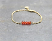 Orange bracelet with gold plated chain 24K / bar bracelet / dainty bracelet for women