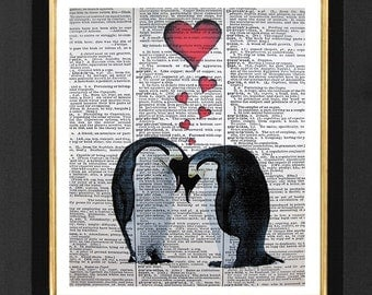 """Penguin Art Print """"For Life""""  Penguin Life Mixed Media art print on 8x10 Vintage Dictionary page, Dictionary art, Dictionary print"""