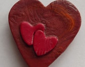 Hearts Fridge Magnet Bronze Red Hand Stamped Polymer Clay Hearts Magnet