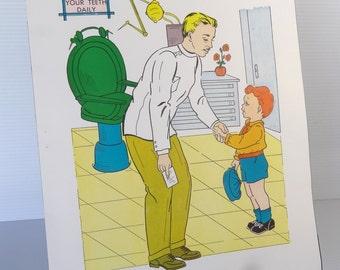 Vintage 1958 Dentist School Poster - Educational Classroom Community Helpers Series -  Hayes School Publishing Co., USA