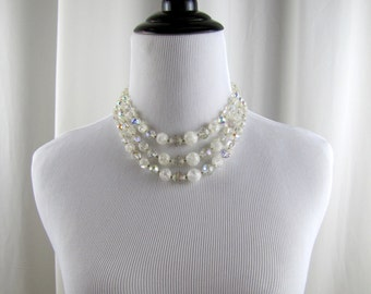 Vintage Lucite Beaded Necklace  | 1950s